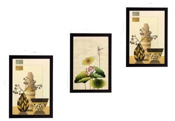 Set of 3 Botanical Pots Satin Matt Textured UV Art Painting