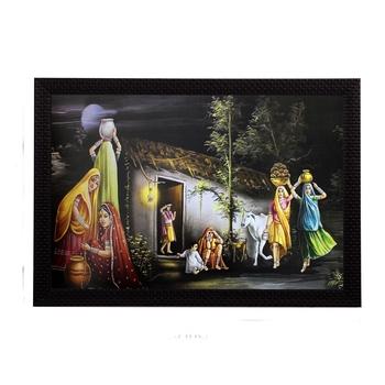 Village Lady Group Satin Matt Texture UV Art Painting