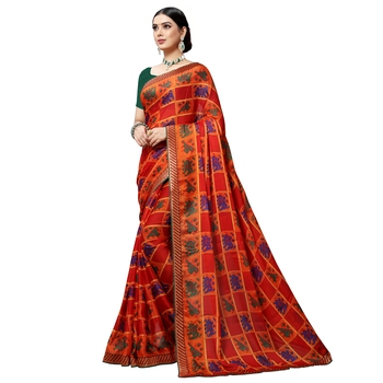 Dark orange printed art silk saree with blouse