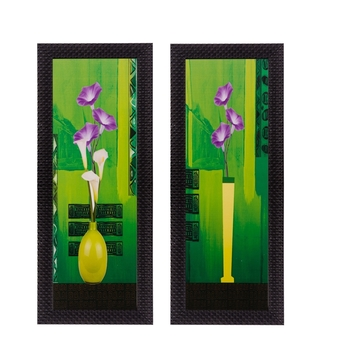 Set of 2 Botanical Pots Satin Matt Textured UV Art Painting