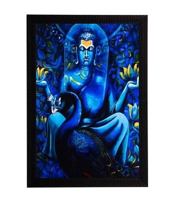 Blue Lord Buddha & Swan Satin Matt Texture UV Art Painting