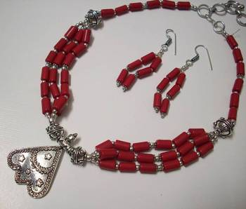 CORAL OXIDIZED NECKLACE 002
