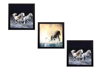 Set Of 3 Running Horses Satin Matt Texture UV Art Painting