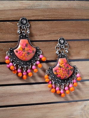 Handcrafted Pink Orange Beads Resin Oxidised Silver Plated Brass Afghan Chandbalis