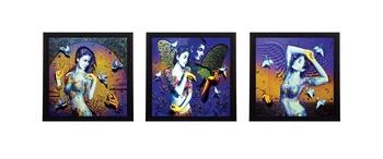 Set Of 3 Beautiful Lady Satin Matt Texture UV Art Painting
