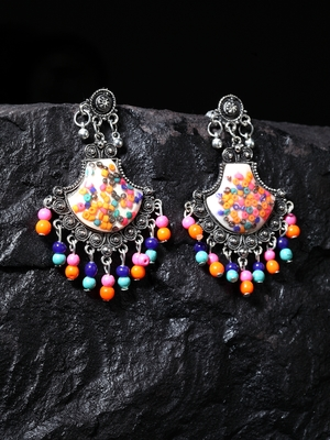 Handcrafted Multi Color Beads Resin Oxidised Silver Plated Brass Afghan Chandbalis