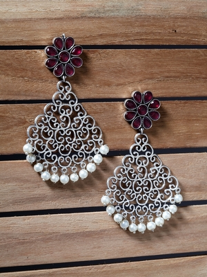 Handcrafted Maroon Stones White Pearls Silver Plated Brass Drop Earrings