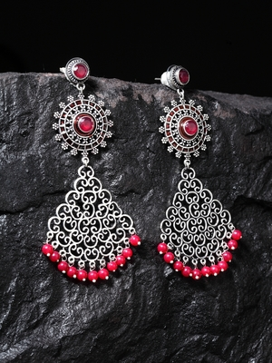 Handcrafted Red Stones and Pearls Teardrop Design Silver Plated Brass Drop Earrings