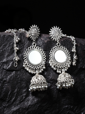 Handcrafted Mirror Design Oxidised Silver Plated Brass Jhumkas with Ear Chain