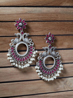 Handcrafted Pink Stones White Pearls Peacock Design Silver Plated Brass Chandbalis