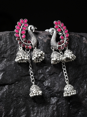 Handcrafted Pink Stones Peacock Shape Oxidised Silver Plated Hanging Brass Jhumkas