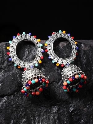 Handcrafted Multi Color Beads Afghan Design Oxidised Silver Plated Brass Jhumkas