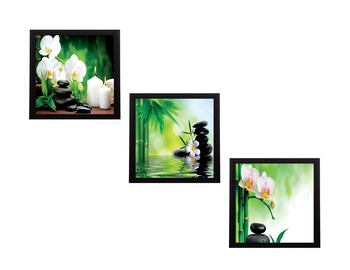 Set Of 3 White Flora and Stones Satin Matt Texture UV Art Painting