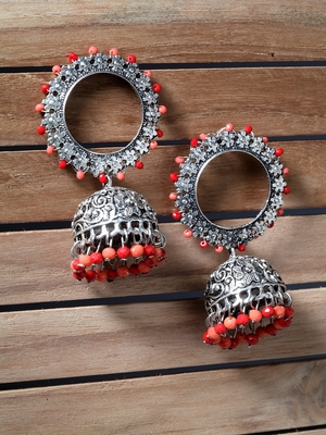 Handcrafted Orange Red Beads Afghan Design Oxidised Silver Plated Brass Jhumkas
