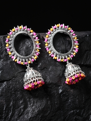 Handcrafted Pink Orange Beads Afghan Design Oxidised Silver Plated Brass Jhumkas