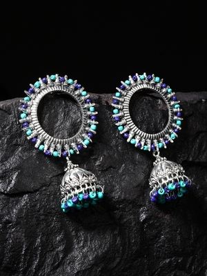 Handcrafted Turquoise Blue Beads Afghan Design Oxidised Silver Plated Brass Jhumkas