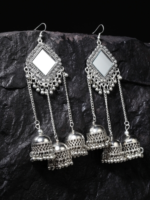 Handcrafted Mirror Design Oxidised Silver Plated Dome Shaped Brass Hanging Jhumkas