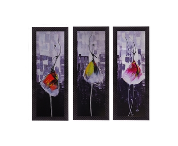 Set Of 3 Dancing Girl Satin Matt Texture UV Art Painting