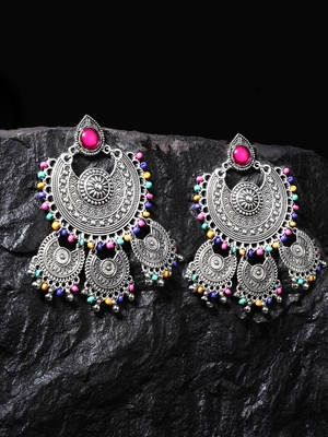 Handcrafted Multi Beads Oxidised Silver Plated Triple Chandbali Design Brass Earrings