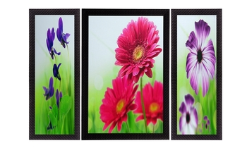 Set Of 3 Colorful Botanical Floral Satin Matt Texture UV Art Painting