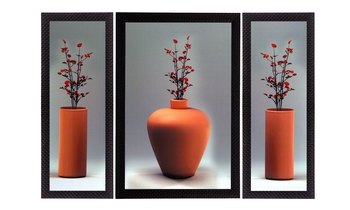 Set Of 3 Flowers and Vase Satin Matt Texture UV Art Painting