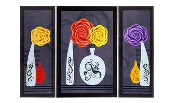 Set Of 3 Vase With Flower Satin Matt Texture UV Art Painting