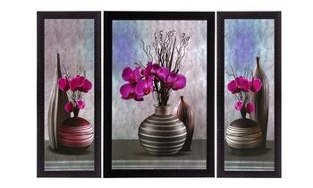 Set Of 3 Pink Flower and Vase Satin Matt Texture UV Art Painting