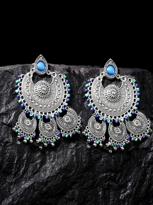 Handcrafted Blue Beads Oxidised Silver Plated Triple Chandbali Design Brass Earrings