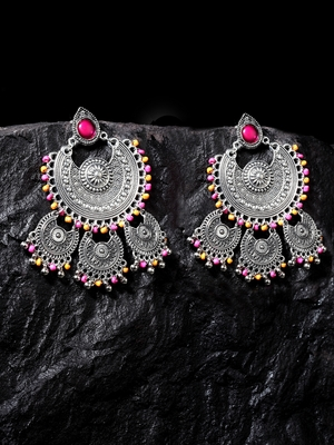 Handcrafted Pink Beads Oxidised Silver Plated Triple Chandbali Design Brass Earrings