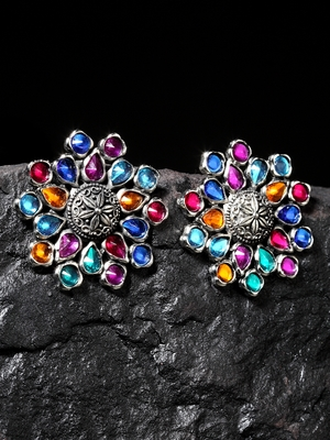 Handcrafted Multi Color Stones Floral Design Oxidised Silver Plated Brass Studs
