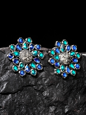 Handcrafted Blue Color Stones Floral Design Oxidised Silver Plated Brass Studs