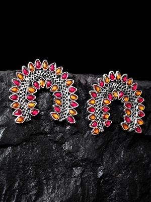Handcrafted Pink Orange Stones Rajwada Design Oxidised Silver Plated Brass Studs