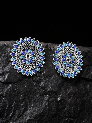 Handcrafted Blue Stones Antique Rajwada Design Oxidised Silver Plated Brass Studs