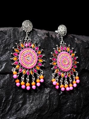 Handcrafted Pink Orange Bead Stones Oxidised Silver Plated Brass Afghan Drop Earrings