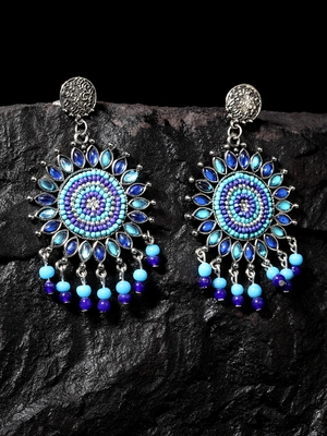 Handcrafted Blue Beads and Stones Oxidised Silver Plated Brass Afghan Drop Earrings