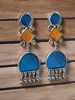 Handcrafted Blue Orange Enamelled Meenakari Oxidised Silver Plated Brass Earrings