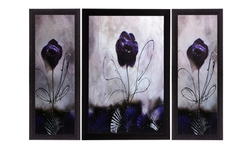 Set Of 3 Glossy Purple Satin Matt Texture UV Art Painting