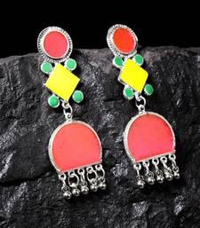 Handcrafted Pink Yellow Enamelled Meenakari Oxidised Silver Plated Brass Earrings