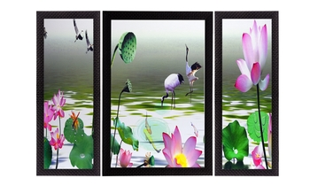 Set Of 3 Colorful Flora Fauna Satin Matt Texture UV Art Painting