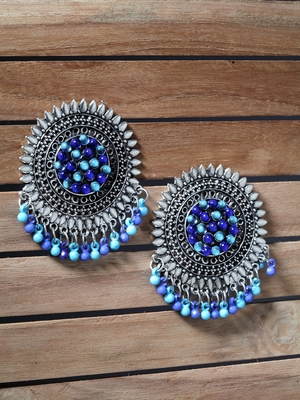 Handcrafted Blue Beads and Stones Afghan Design Oxidised Silver Plated Brass Studs
