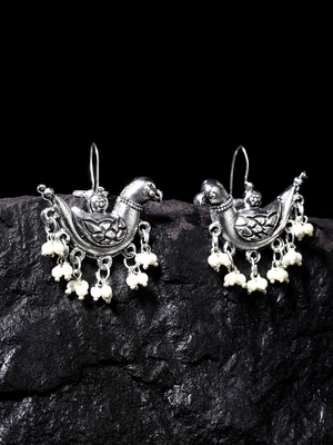 Handcrafted White Pearls Sparrow Design Oxidised Silver Plated Brass Studs