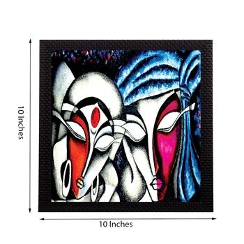 Face Of Radha Krishna Satin Matt Texture UV Art Painting