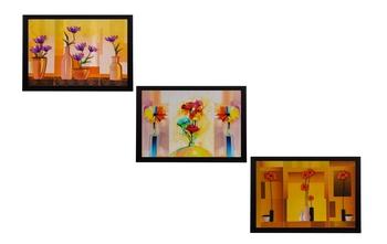 Set Of 3 Gorgeous Vase Flower Satin Matt Texture UV Art Painting
