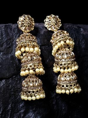 Handcrafted Kundan Pearl Studded 3 Jhumki Design Oxidised Gold Plated Brass Jhumkas