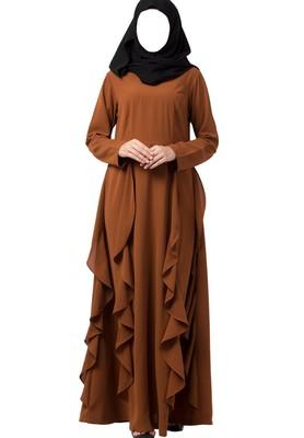 Beautiful Abaya Like Dress With Falling Panels Made in Nida Matte fabric