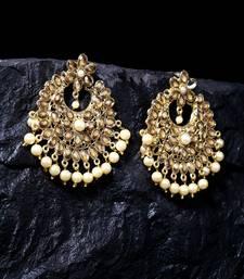 Handcrafted Kundan Pearl Studded Oxidised Gold Plated Crescent Shape Brass Chandbalis