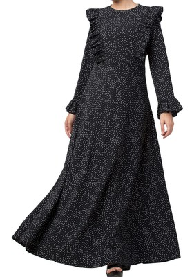 Maxi Dress With Ruffles-Made Of Bubble Crepe