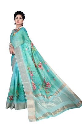 Aqua blue printed jacquard saree with blouse