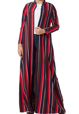 Crepe Long Abaya Like Dress In Stripes With Side Pockets