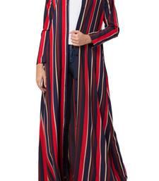 Crepe Long Abaya Like Dress in Stripes With Side Pockets
